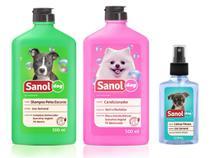 Kit completo banho cães: Shampoo para Cães Pelos Escuros + Condicionador Revitalizante + Perfume colônia fragrância Baby- Sanol Dog -