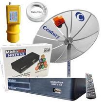 Kit Completo Digital Antena Parabolica Century + Receptor Midia + Lnbf + Cabo -
