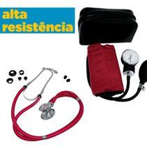 Kit Completo Esfigmomanômetro + Estetoscópio Vinho Premium - G-Tech