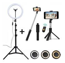 Kit Completo Fotografar Pau De Selfie Com Tripé Bluetooth Com Controle Com Ring Light Led 26cm Filme - Online