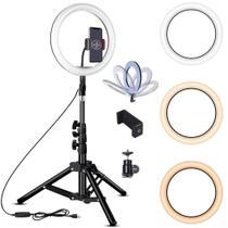 Kit Completo Iluminador Luz LED Ring Light Fotógrafo Maquiagem Pro 10 Polegadas 26cm com Tripé 1,6m - Smart Bracelet