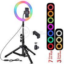 Kit Completo Iluminador Luz LED Ring Light RGB Colorida Pro 10 Polegadas 26cm com Tripé 1,6m - Smart Bracelet