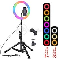 Kit Completo Iluminador Luz LED Ring Light RGB Colorida Pro 10 Polegadas 26cm com Tripé 1,6m - Smart Bracelet
