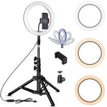 Kit Completo Iluminador Luz LED Ring Light Youtuber Maquiagem Pro 10 Polegadas 26cm com Tripé 1,6m Cor:PretoTamanho:10 - Smart Bracelet