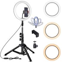 Kit Completo Iluminador Luz LED Ring Light Youtuber Maquiagem Pro 12 Polegadas 30cm com Tripé 1,6m - Smart Bracelet