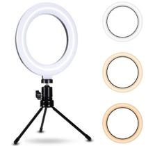 Kit Completo Iluminador Luz LED Ring Light Youtuber Maquiagem Pro 6 Polegadas 16cm com Tripé 15cm - Smart Bracelet
