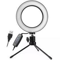 Kit Completo Iluminador Ring Light 6 Polegadas Com Tripé Dimmer Youtuber Selfie Pro Led Misto -