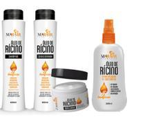 Kit completo óleo de rícino crescimento shampoo - condicionador - máscara - spray anti-queda - MAHAIR