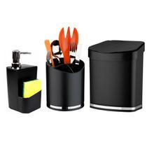 KIt Completo Para Pia de Cozinha Lixeira Porta Detergente e Suporte Talheres - Wp Connect