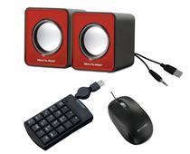 Kit completo para seu computador PC Notebook Mini caixas de som e teclado numérico e mouse óptico - Multilaser