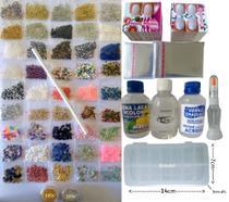 Kit Completo Pedrarias Joias Unhas 20Gr Caviar Goma Base Verniz Cartões de Unhas - ref. 7200 - Pedrarias Para Unhas