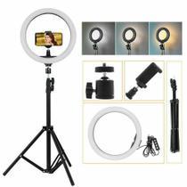 Kit Completo Ring light 26cm com Tripé 2,10m 3 Opções de Luminosidade e 1 - Cdc