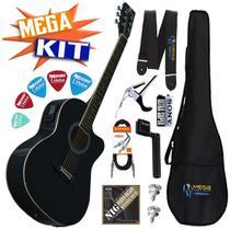 KIT completo Violão Eletrico Aço GE-21 BK Harmonics -