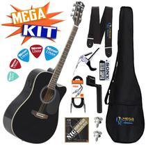 KIT completo Violão Eletrico Folk Aço GE-30 BK Harmonics -