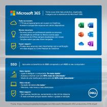 "Kit Computador All in One Dell Inspiron 5400-OS20F 23.8"" FHD 11ª G Intel Core i7 8GB 256GB SSD Windows 10 Microsoft 365 -"