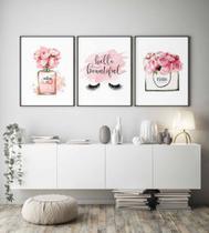 Kit conjunto 3 quadros decoração quarto menina infantil 20x30 - Neyrad