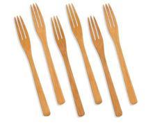 Kit Conjunto 6 Garfinhos Mini Garfos Bambu Petisco Sobremesa - Welf