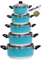 Kit Conjunto Caçarolas Panelas Alumínio Resistente Tampa Vidro 5 Peças Fort Lar Cônica Plus Azul Tiffany Original - Fortlar