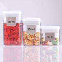 Kit Conjunto Com 3 Potes Herméticos Vedação Para Alimentos Organizador - Casíta
