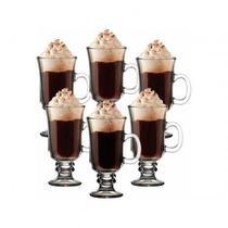Kit Conjunto De Caneca Xicara De Vidro Taca Alta Cappucino Cafe Chocolate Dolce Gusto Coffe 280ml - Lyor