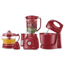 Kit Conjunto Especial Batedeira Prática + Liquidificador Turbo Power + Espremedor de Frutas Premium Vermelho Mondial - KT-105-R -