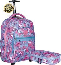 Kit Conjunto Mochila Escolar Feminina Juvenil Impermeável Unicórnio Rodinha Carrinho Rosa + Estojo 1 Compartimento Grande Resistente Sestini -