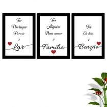 Kit Conjunto Quadros com Vidro 3 peças Frases Auto Ajuda Pensamentos Família Decorativo - Paradecoração