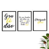 Kit Conjunto Quadros com Vidro 3 peças Frases Auto Ajuda Pensamentos Gratidão Cor Amarelo Decorativo - Oppen House -