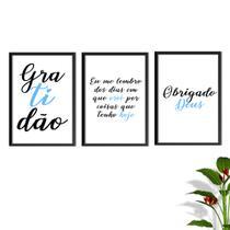 Kit Conjunto Quadros com Vidro 3 peças Frases Auto Ajuda Pensamentos Gratidão Cor Azul Bebê Decorativo - Oppen House -