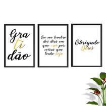 Kit Conjunto Quadros com Vidro 3 peças Frases Auto Ajuda Pensamentos Gratidão Cor Dourado Decorativo - Oppen House -