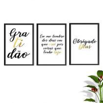 Kit Conjunto Quadros com Vidro 3 peças Frases Auto Ajuda Pensamentos Gratidão Cor Dourado Decorativo - Paradecoração