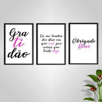 Kit Conjunto Quadros com Vidro 3 peças Frases Auto Ajuda Pensamentos Gratidão Cor Rosa Decorativo - Oppen House -