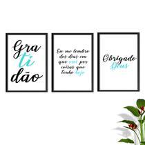 Kit Conjunto Quadros com Vidro 3 peças Frases Auto Ajuda Pensamentos Gratidão Cor Tiffany Decorativo - Oppen House -