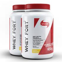 Kit contendo 2 Whey Fort Vitafor 900g Abacaxi -