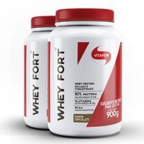 Kit contendo 2 Whey Fort Vitafor 900g Chocolate -