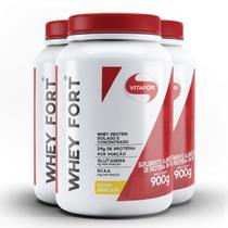Kit contendo 3 Whey Fort Vitafor 900g Abacaxi -