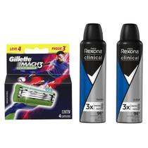 Kit contendo um cartucho Mach 3 Gillette leve 4 pague 3 e duas unidades do desodorante Rexona clinical - Gillette/Unilever