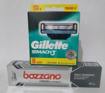 Kit contendo um creme de barbear Bozzano pele sensível, mais uma carga Mach3 leve 8 pague 6. - Gillette