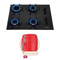 Kit Cooktop Mueller 4 Bocas a Gas Preto Bivolt com Fritadeira Air Fryer Cook Master Cadence 3,2L Vermelha 127V -