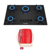 Kit Cooktop Mueller 5 Bocas a Gas Preto Bivolt com Fritadeira Air Fryer Cook Master Cadence 3,2L Vermelha 127V -