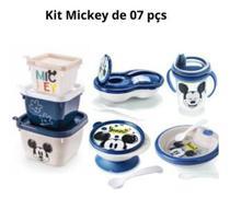 Kit Copo,Tigela,Prato Termico,Pote Papinha,Pote Conect c/3 Mickey - Plasutil