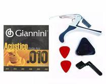 Kit Corda Giannini Aço 0.10 Capotraste Encordoador Palhetas -