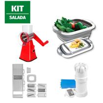 Kit Cortador Fatiador legumes 8 peça Bacia 3 em 1 triturador - 123Útil