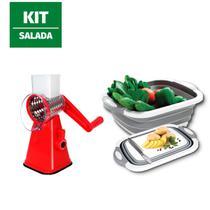 Kit Cortador Fatiador Legumes Alimentos salada bacia 3 em 1 - 123Útil