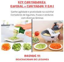 Kit Cortador Legumes Fatiador Frutas Verduras Batata Descascador Espiral Picador - Penselarfun