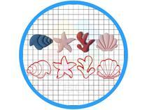 Kit Cortadores de Biscoito Fundo do Mar Pasta Americana - Artbox3D