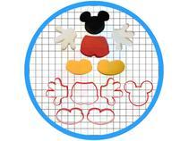 Kit Cortadores de Biscoito Mickey Mouse Pasta Americana - Artbox3D