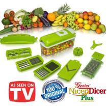 Kit Cortadores e Fatiadores de Legumes c/Lâminas 100% Inox Original Marca: Genius Nicer Dicer Plus -