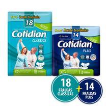 Kit Cotidian - 18 Fraldas Geriátricas Adulto Clássica Xg + 14 Plus Xg -