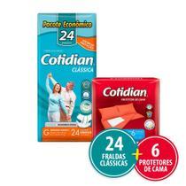 Kit Cotidian - 24 Fraldas Geriátricas Adulto Clássica G + 6 Protetor De Cama -